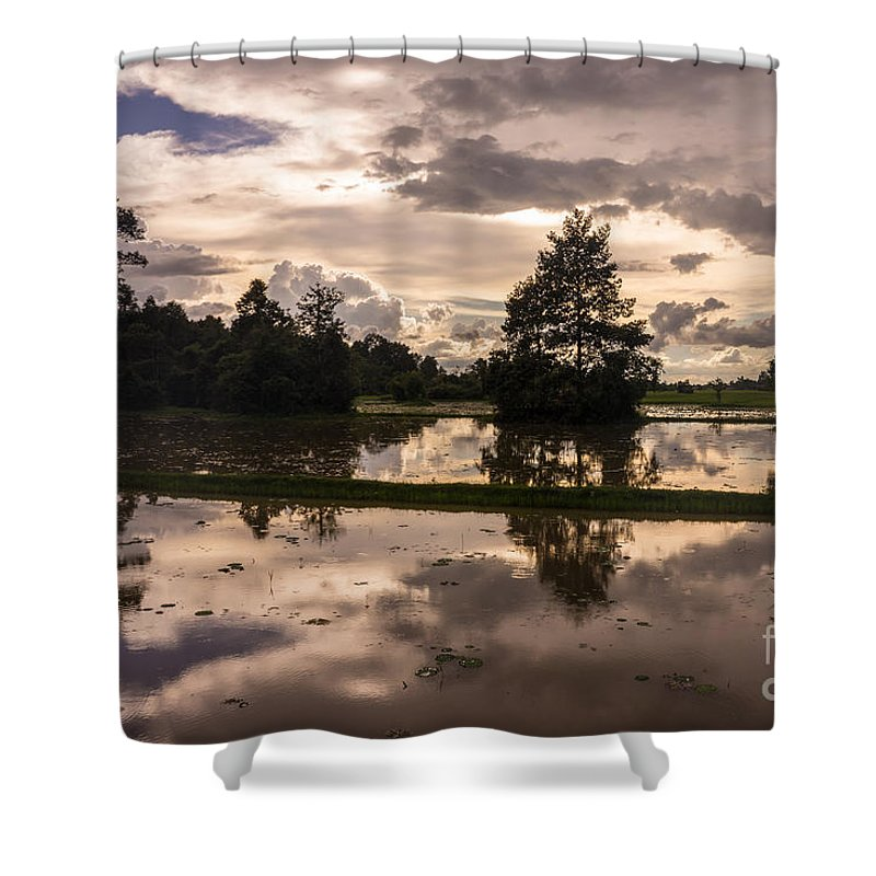 Sunrise Shower Curtain featuring the photograph Cambodian Countryside Rice Fields Reflection by Mike Reid
