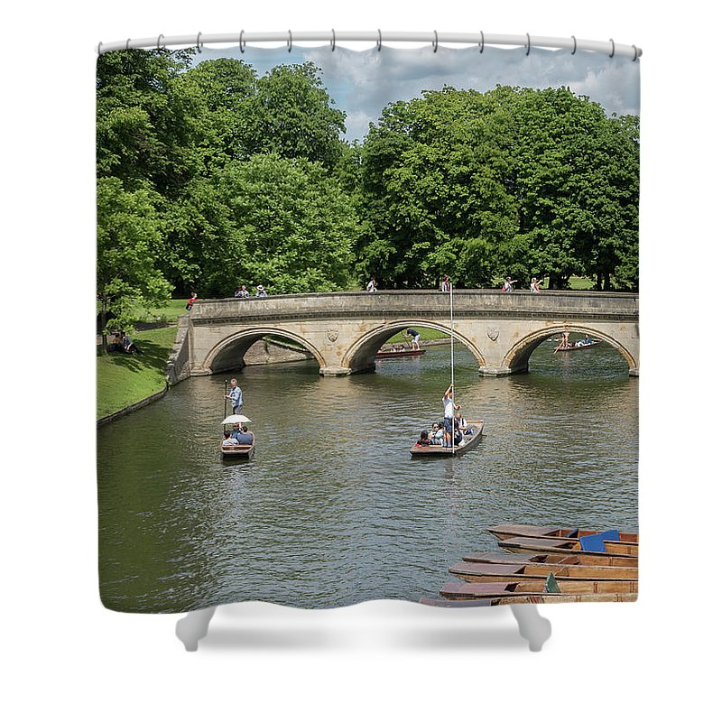 Cambridge Shower Curtain featuring the photograph Cambridge Punting On The River by Tim Clark