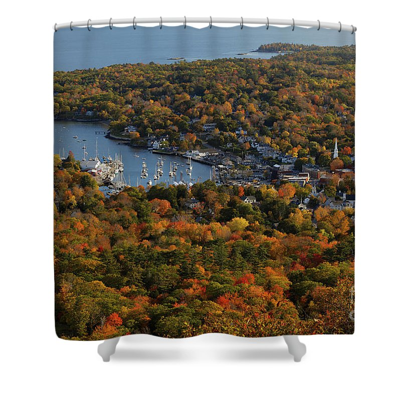 Village Shower Curtain featuring the photograph Camden Harbor In The Fall by Kevin Shields