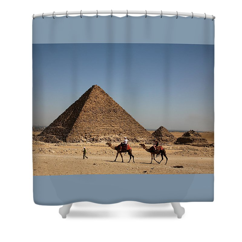 Camels Shower Curtain featuring the photograph Camel Ride At The Pyramids by Donna Corless