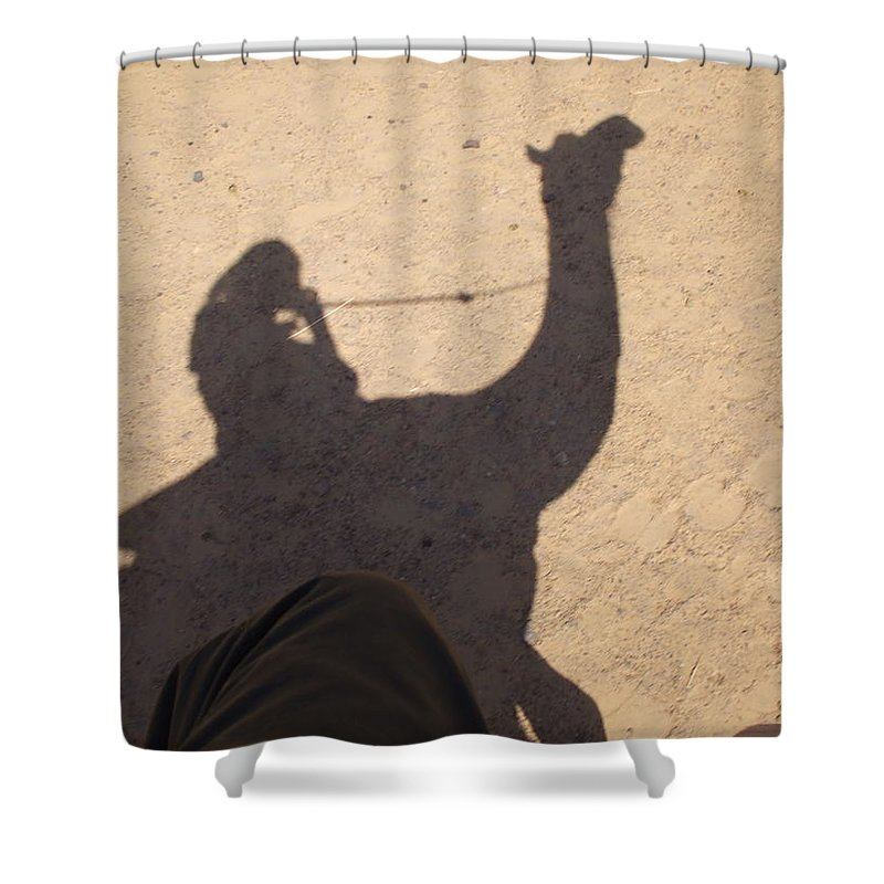 Camel Shower Curtain Featuring The Photograph Shadow By Dick Rappleye