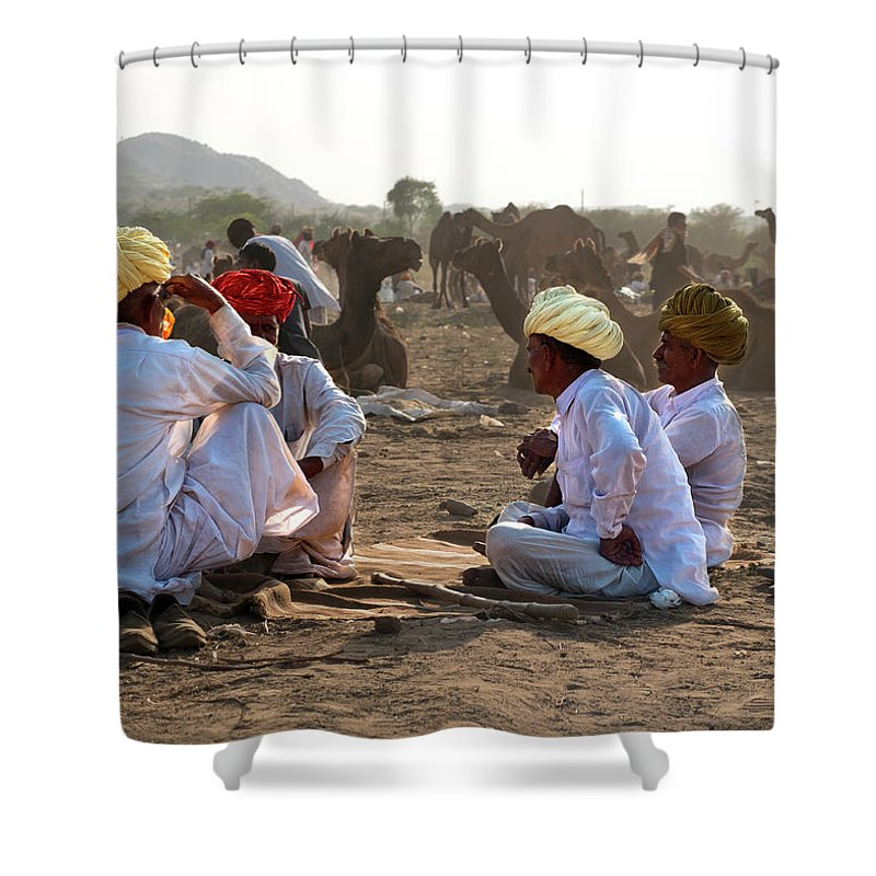Camel Traders Shower Curtain featuring the photograph Camel Traders Pushkar by Doug Matthews