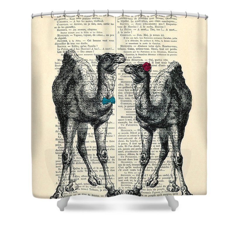 Camels Print Shower Curtain Featuring The Digital Art Married Couple By Madame Memento