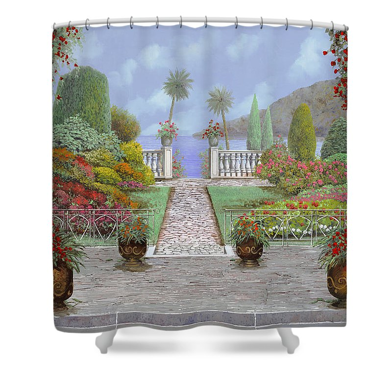 Lake Shower Curtain featuring the painting Camminando Verso Il Lago by Guido Borelli