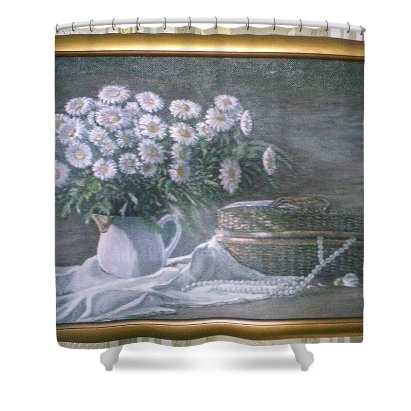 Camomile Shower Curtain featuring the painting Camomile In The Pot And Busket With Pearls by Artyom Ukhov