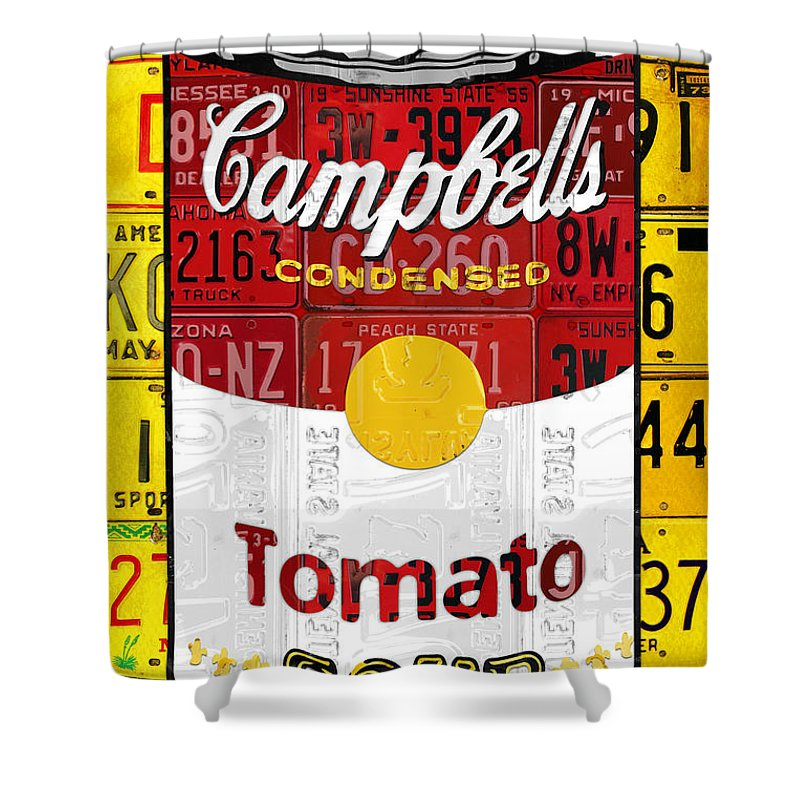 Campbells Shower Curtain Featuring The Mixed Media Tomato Soup Can Recycled License Plate Art By