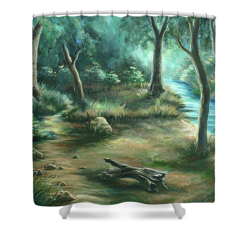 Landscape Shower Curtain featuring the painting Camping At Figueroa Mountains by Jennifer McDuffie