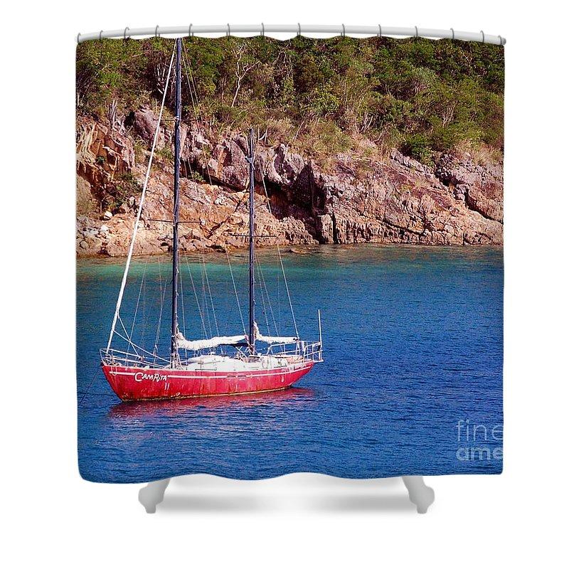 Sailboat Shower Curtain featuring the photograph Camrita by Debbi Granruth