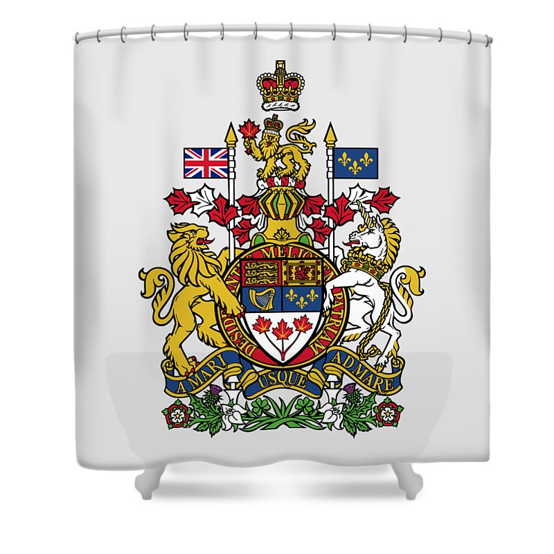 Canada Shower Curtain featuring the drawing Canada Coat Of Arms by Movie Poster Prints