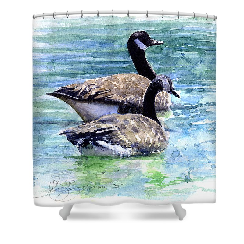 Canada Shower Curtain featuring the painting Canada Geese by John D Benson