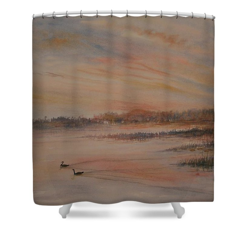 Landscape;geese;birds; Marshes; Sunset Shower Curtain featuring the painting Canadian Geese At Sunset by Ben Kiger