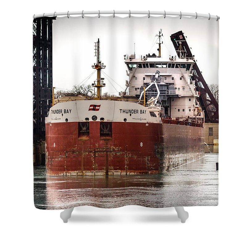 100th Street Bridge Shower Curtain featuring the photograph Canadian Laker Thunder Bay by Christine Douglas