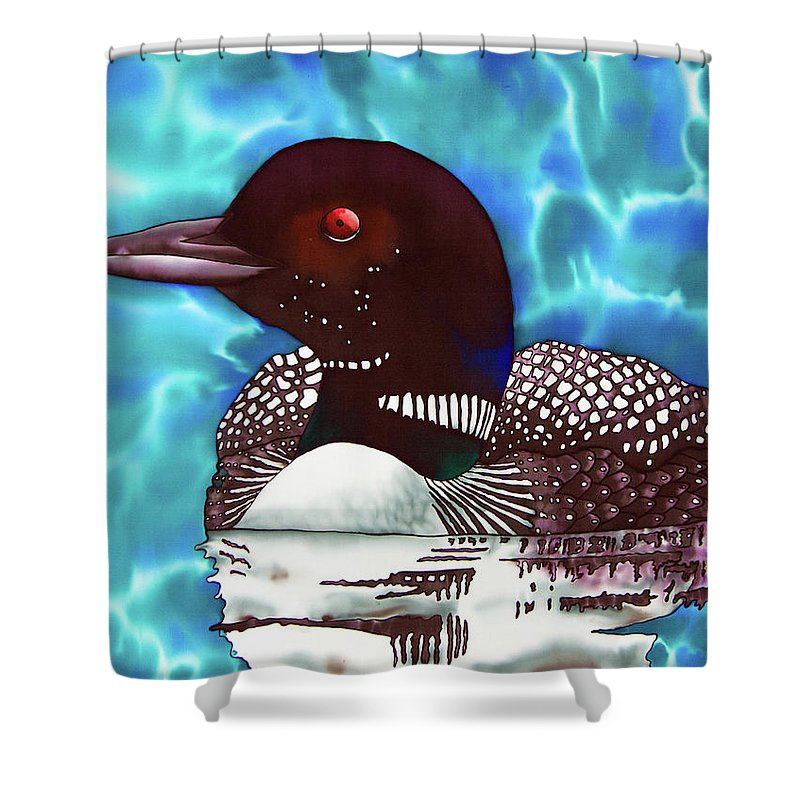 Jean Baptiste Design Shower Curtain Featuring The Painting Canadian Loon By Daniel