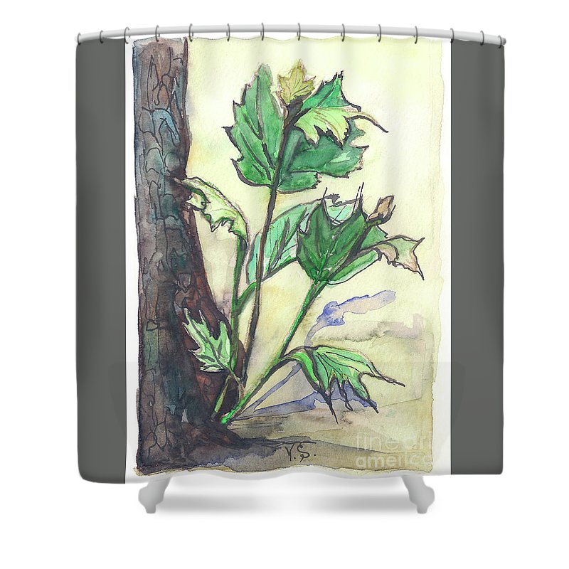 Canadian Shower Curtain featuring the painting Canadian Maple by Yana Sadykova