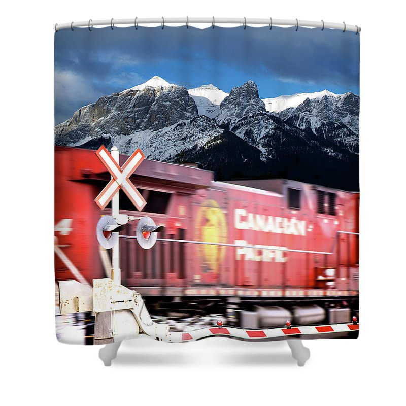 Train Shower Curtain featuring the photograph Canadian Pacific Trail Slices Through The Rockies by Lisa Knechtel