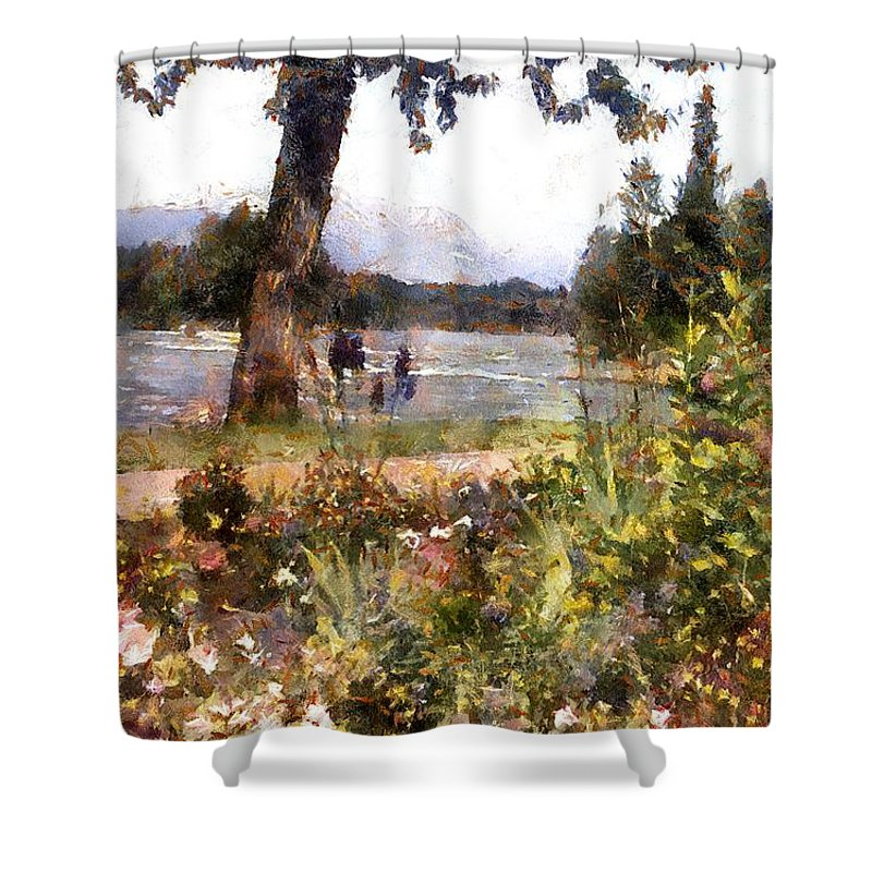 Canada Shower Curtain featuring the painting Canadian Sunday Out By The Lake by RC DeWinter