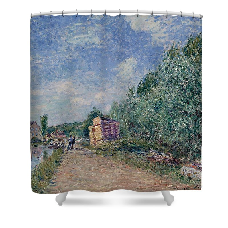 Alfred Sisley Shower Curtain featuring the painting Canal Du Loing-chemin De Halage by Alfred Sisley