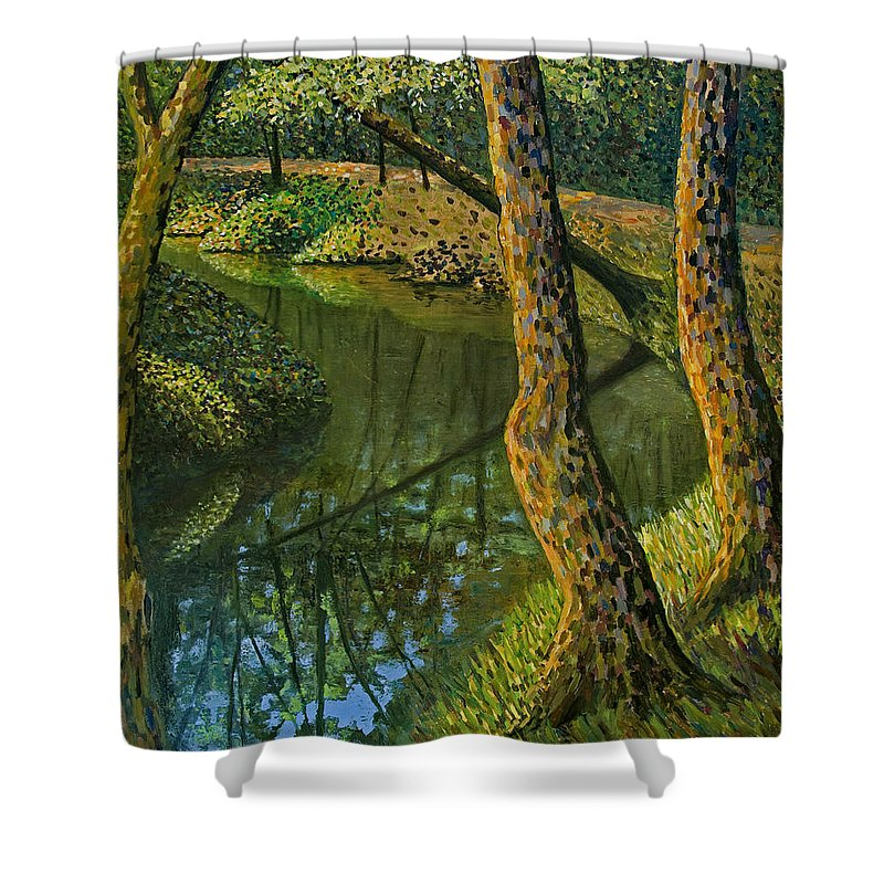 Impressionism Shower Curtain featuring the painting Canal In Sunlight by Don Perino