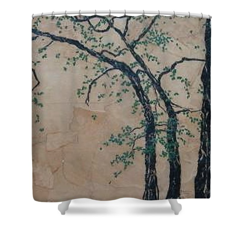 Leafy Tree Shower Curtain featuring the painting Canandaigua Lake by Leah Tomaino