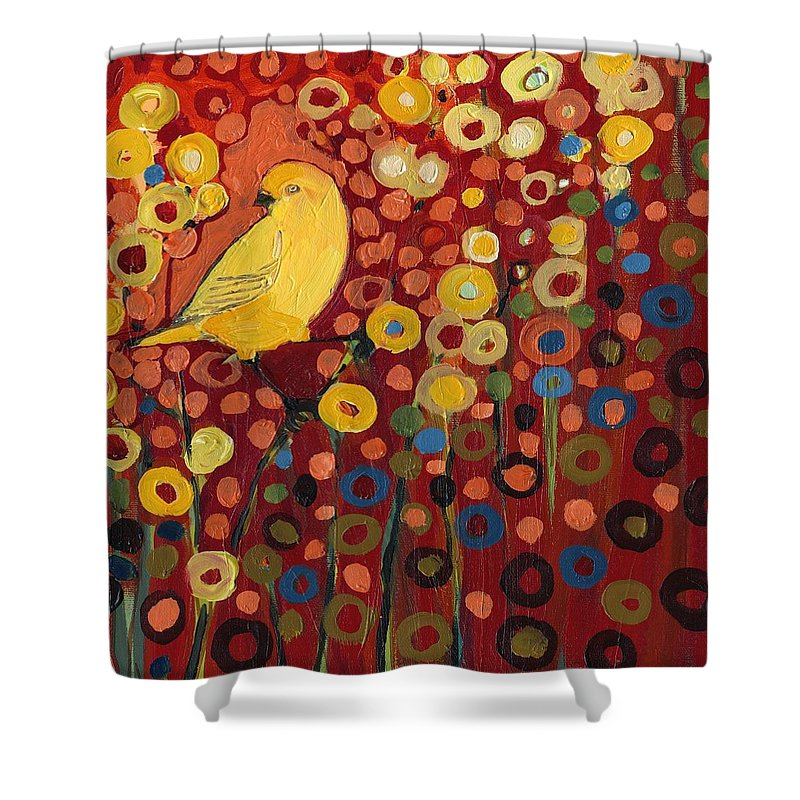 Canary Shower Curtain featuring the painting Canary in Red by Jennifer Lommers