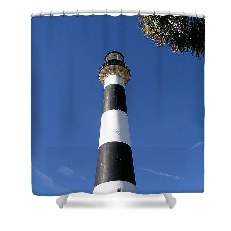 Cape; Canaveral; Light; Lighthouse; Lighthousekeeper; Keeper; Stairs; Kennedy; Space; Center; Air; F Shower Curtain featuring the photograph Canaveral Light by Allan Hughes