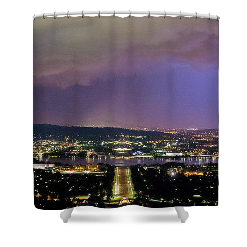 Canberra Shower Curtain featuring the photograph Canberra Stormy Night by Angela DeFrias