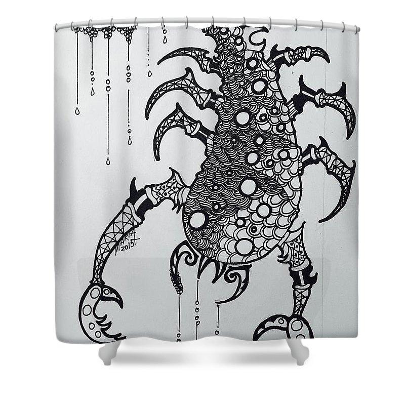 Sagittaurus Zodiac Shower Curtain featuring the drawing Scorpio by Maria Leah Comillas
