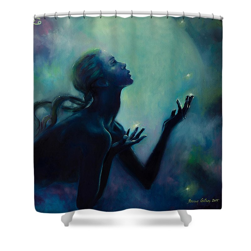 Zodiac Shower Curtain Featuring The Painting Cancer Sign By Dorina Costras