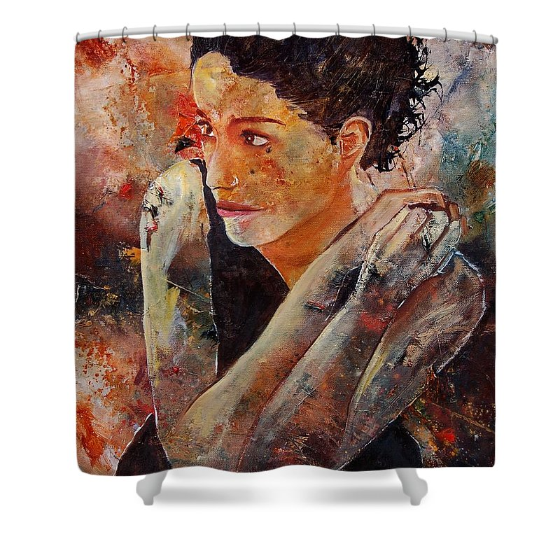 Figurative Shower Curtain featuring the painting Candid Eyes by Pol Ledent