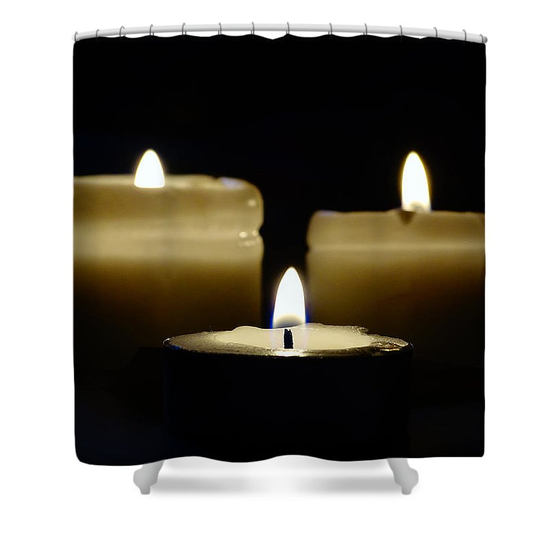 Candles Shower Curtain featuring the photograph Candle Trio by Leah Stark