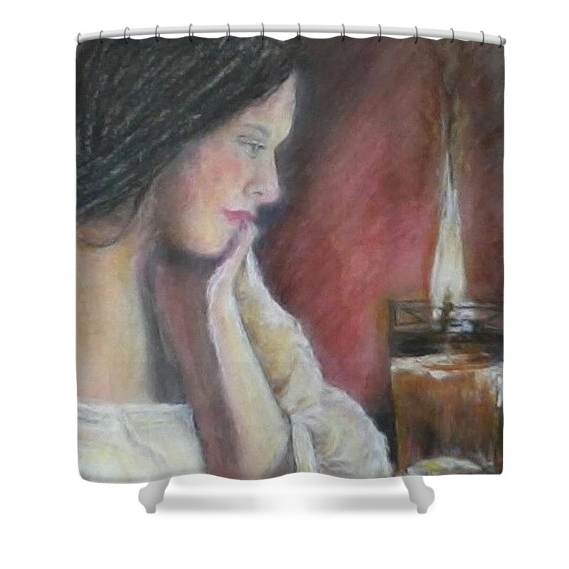 Young Woman Shower Curtain featuring the mixed media Candlelight by Shan Ungar