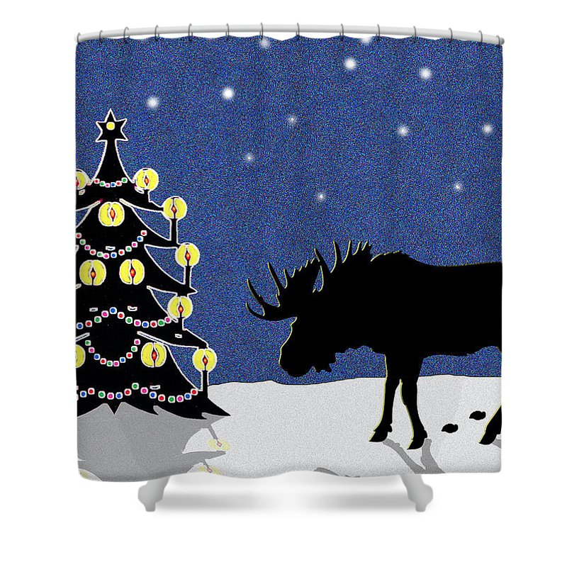 Moose Shower Curtain featuring the digital art Candlelit Christmas Tree And Moose In The Snow by Nancy Mueller