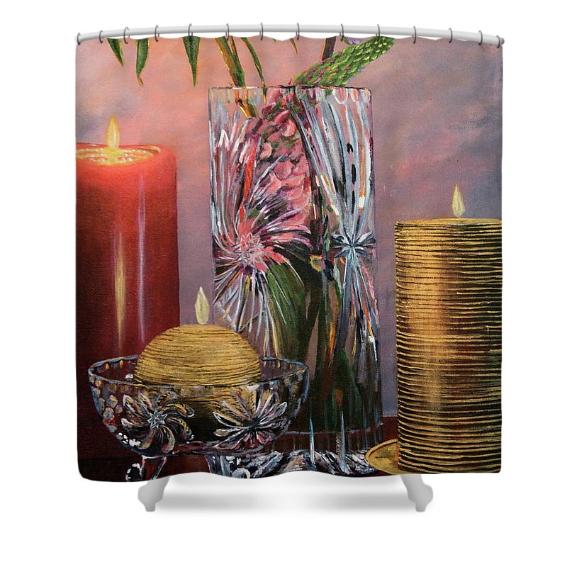 Candle Shower Curtain featuring the painting Candlelit Lupins by Lorraine Vatcher