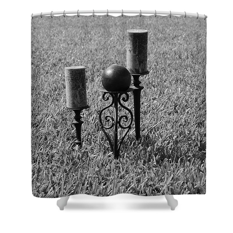 Black And White Shower Curtain featuring the photograph Candles In Grass by Rob Hans