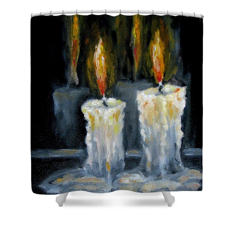 Candles Shower Curtain featuring the painting Candles Oil Painting by Natalja Picugina
