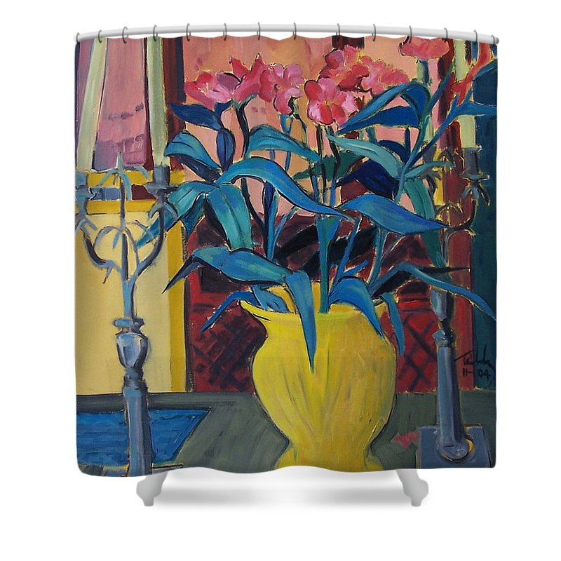 Still Life Shower Curtain featuring the painting Candlesticks And Blossoms by Thomas Tribby