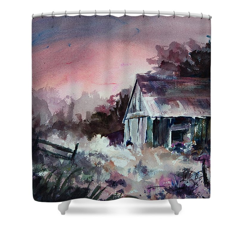 Shack Shower Curtain featuring the painting Candy Cane by Rachel Christine Nowicki