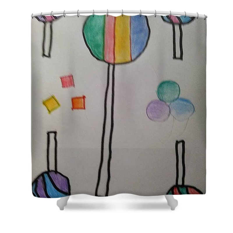 Candy Shower Curtain Featuring The Drawing By Karla English