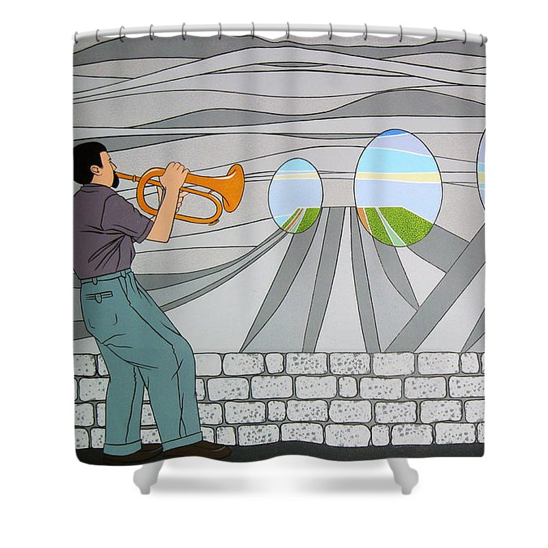 Trumpet Shower Curtain featuring the painting Candy Lips by Patricia Van Lubeck