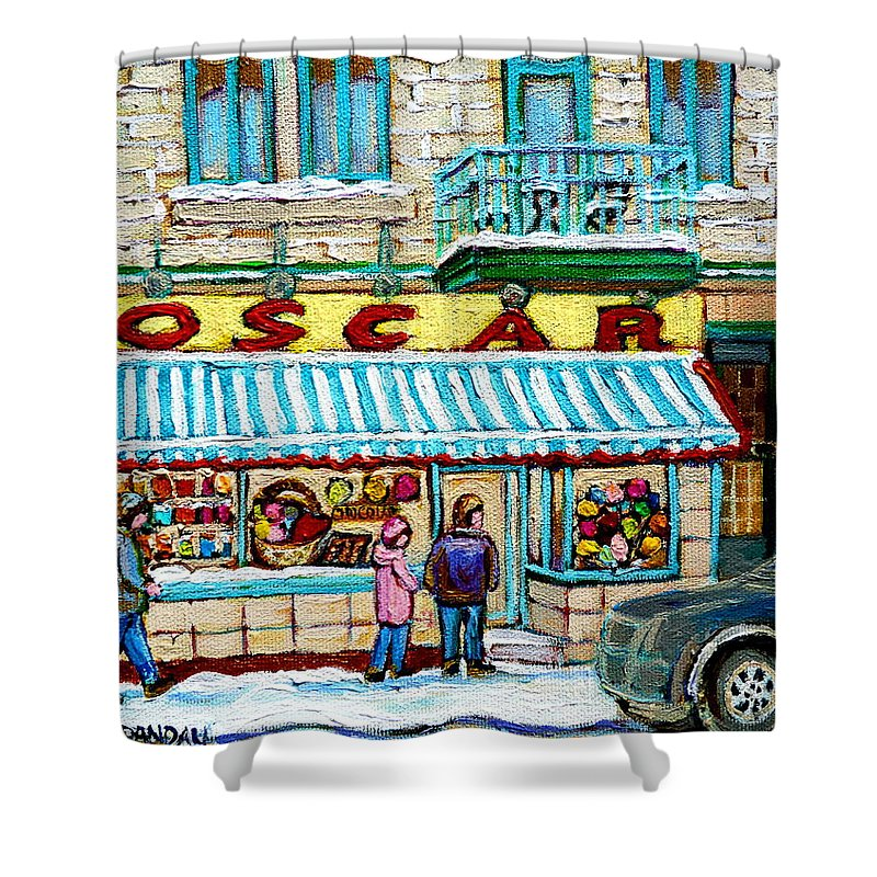 Candy Shop Shower Curtain featuring the painting Candy Shop by Carole Spandau
