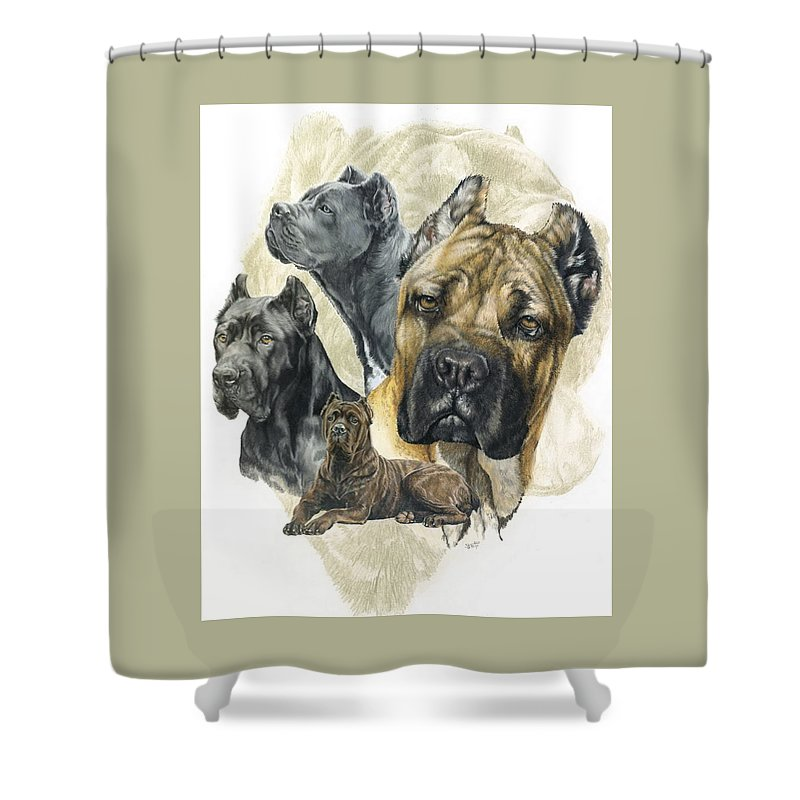Working Shower Curtain featuring the mixed media Cane Corso W/ghost by Barbara Keith