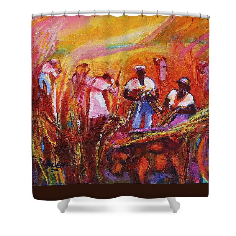 Cane Harvest Shower Curtain featuring the painting Cane Harvest by Cynthia McLean