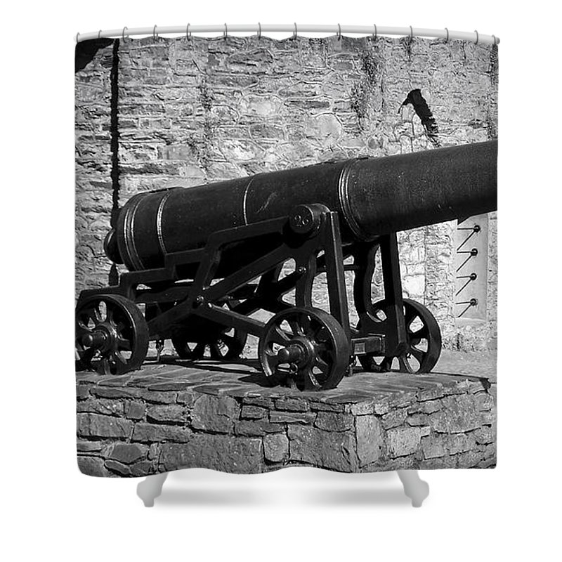 Irish Shower Curtain featuring the photograph Cannon At Macroom Castle Ireland by Teresa Mucha