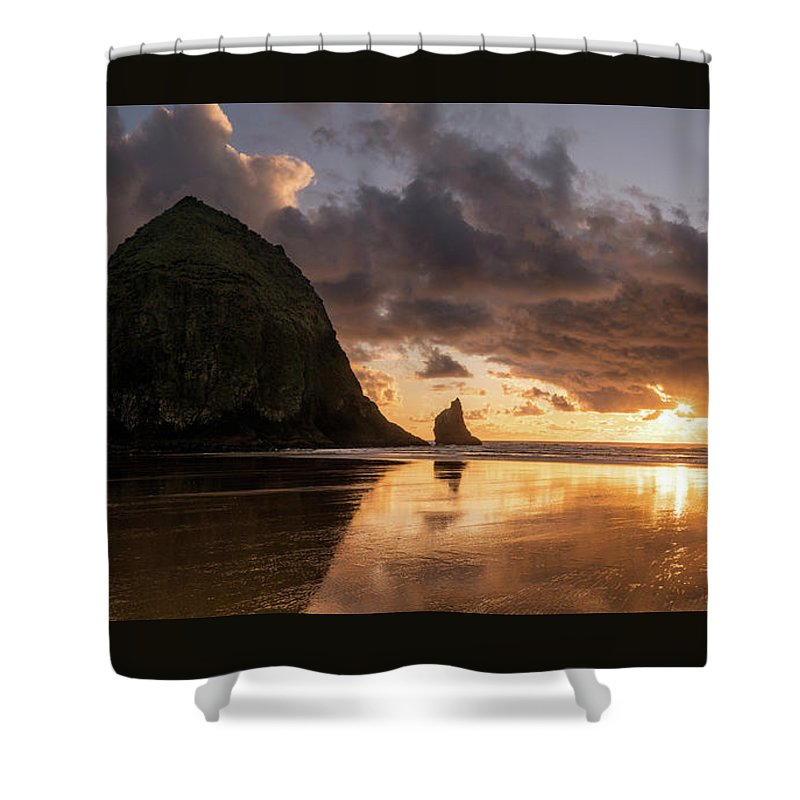 Landscape Shower Curtain featuring the photograph Cannon Beach Sunset by Justin Johnson