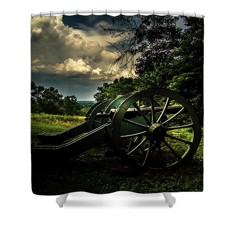 Valley Forge Shower Curtain featuring the photograph Cannon Encampment Valley Forge by Howard Roberts