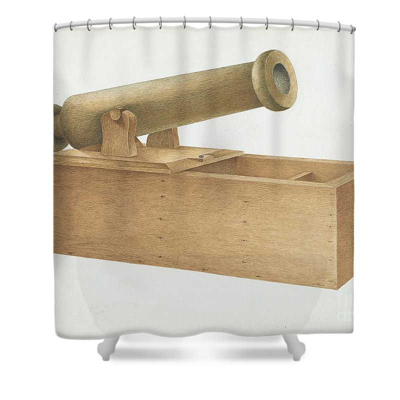 Shower Curtain featuring the drawing Cannon-shaped Ballot Box by Joseph Ficcadenti