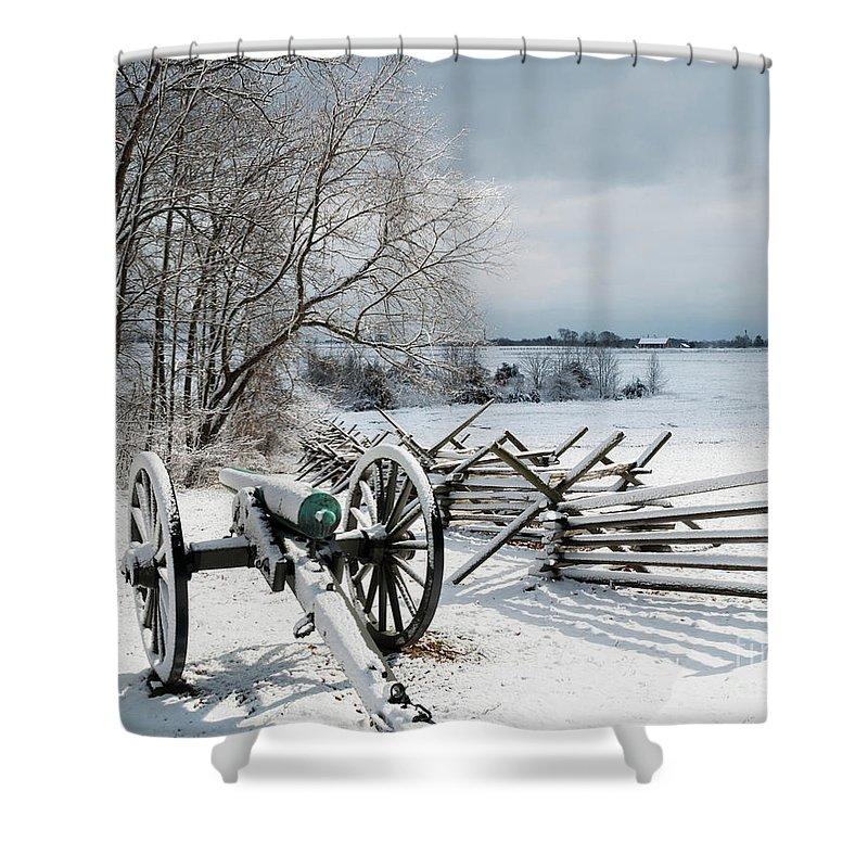 Artillery Shower Curtain featuring the photograph Cannon Under Snow by Kat Zalewski-Bednarek