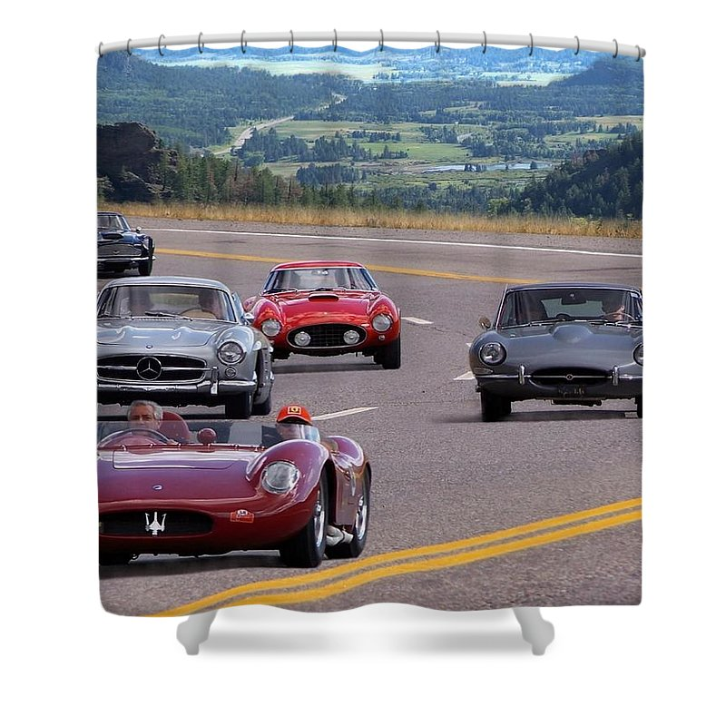 Cars Shower Curtain featuring the photograph Cannonball Rally by Bill Stephens
