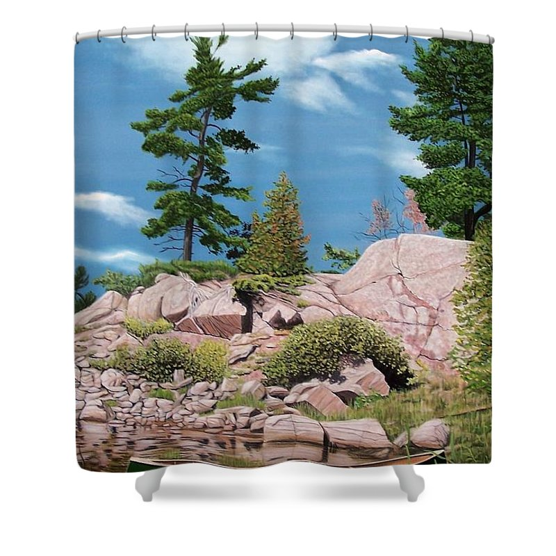 Landscapes Shower Curtain featuring the painting Canoe Among The Rocks by Kenneth M Kirsch