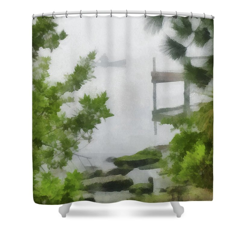 Lagoon Shower Curtain featuring the digital art Canoe In Lake Fog by Francesa Miller